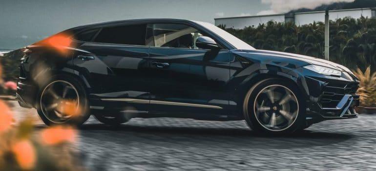 black car on the street