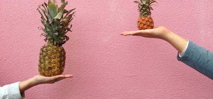 pineapples imitating a scale