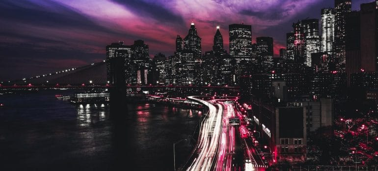 an aerial view of the city of New York in night time