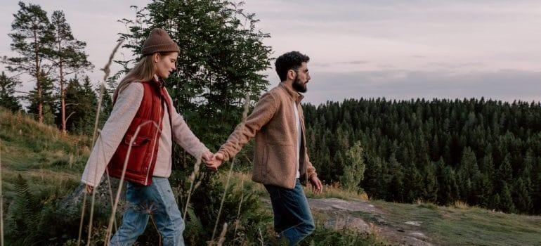 A couple hiking.